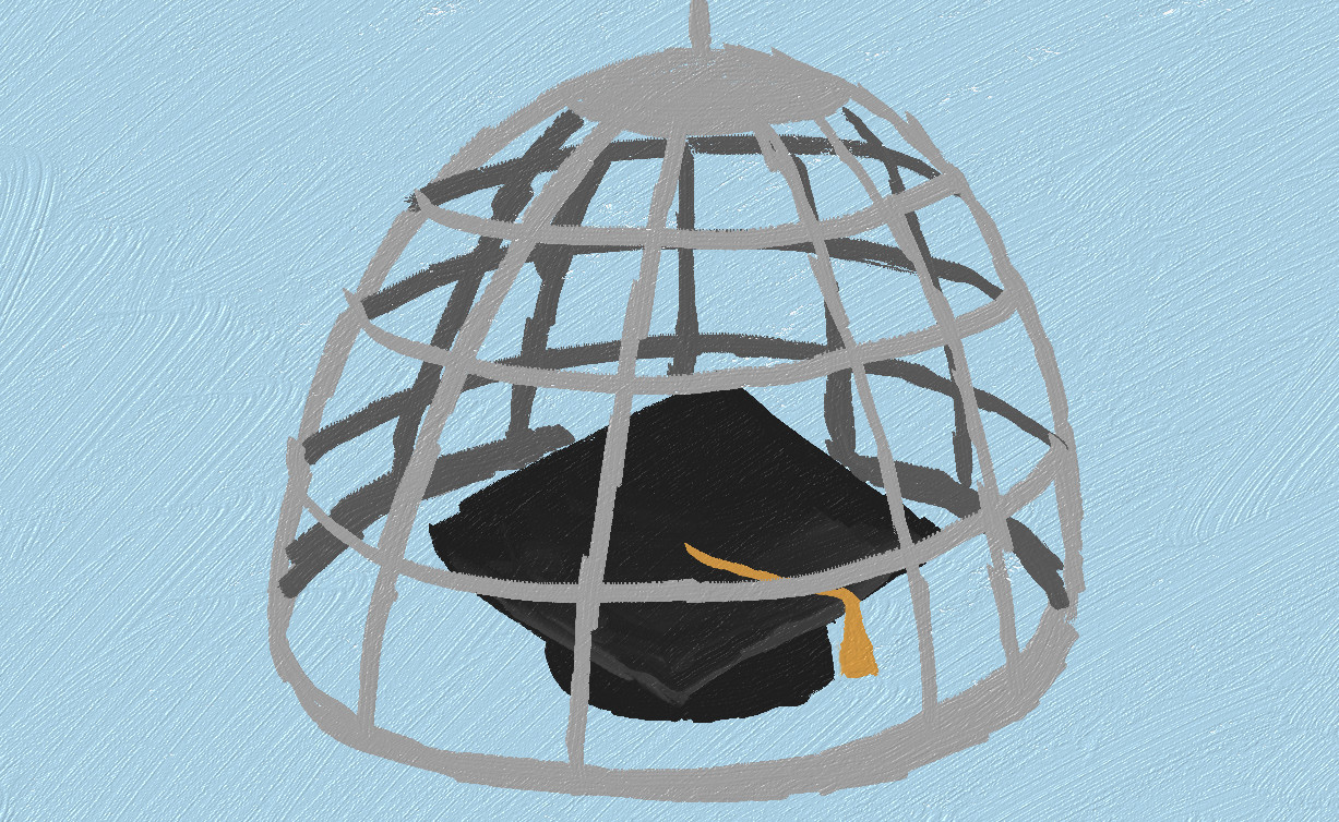 graduation cap in a mouse trap