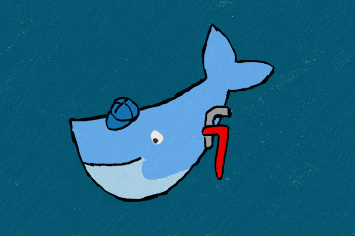 Docker Whale with plumber wrench